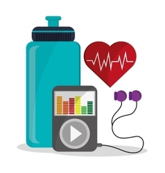 Bottle mp3 heart pulse and fitness design vector