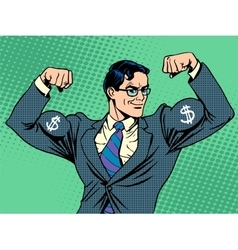 Businessman with muscles currency dollar vector image vector image