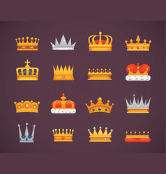 collection of crown icons awards for winners vector image