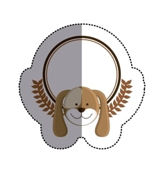 Color sticker circle with dog head and olive vector