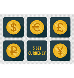 Currency set of icons on dark background vector