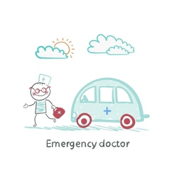 Emergency doctor with the machine vector image