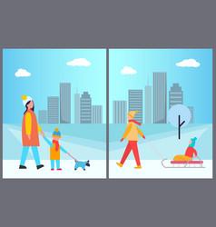 families activities in city vector image vector image