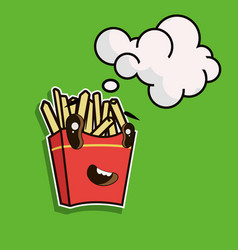 funny cartoon french fries with speech bubble vector image