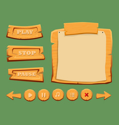 Game wooden interface elements set vector