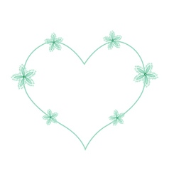 Green ivy flowers in a heart shape vector