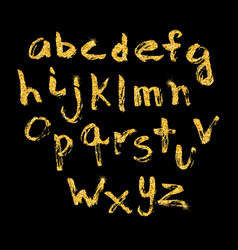 Hand drawn glitter golden alphabet in calligraphy vector