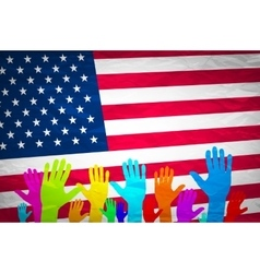 hand with USA flag Grunge USA Flag american vector image vector image