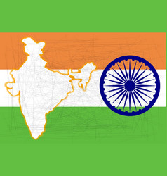 India flag and map vector