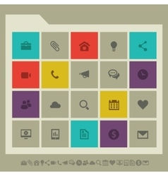 Industrial icon set multicolored square flat vector