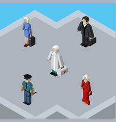 Isometric people set of officer female medic and vector