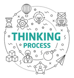 line flat circle thinking process vector image vector image