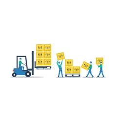 Logistics services warehouse workers with boxes vector image