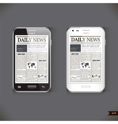 Modern smart phone with business news article vector image vector image