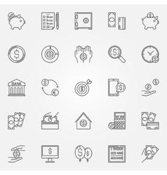 Money saving icons set vector image vector image