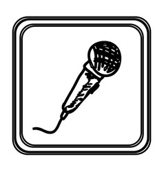 monochrome contour with microphone hand drawn vector image vector image