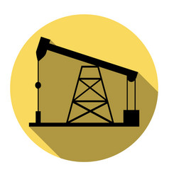 Oil drilling rig sign flat black icon vector