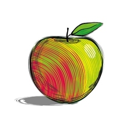 Red apple with yellow side hand drawn sketch vector