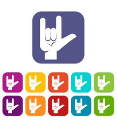 Rock gesture icons set flat vector