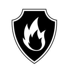 Shield insurance with fire isolated icon vector