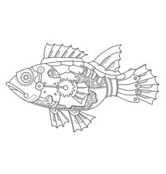 steampunk style fish coloring book vector image vector image