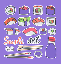 Sushi doodle icons set vector