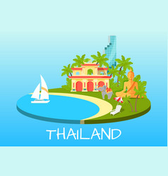 Thailand touristic concept with national symbols vector