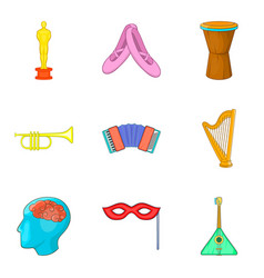 Understanding music icons set cartoon style vector
