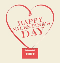 Valentines Day card with heart from tape and vector image