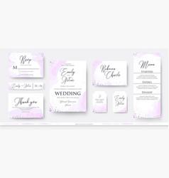 Wedding invite thank you rsvp menu card design vector