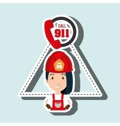 Woman firefighter mask helmet vector