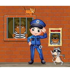 A policeman in front of a jail with two cats vector