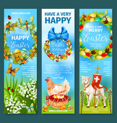 Happy easter greetings banner template set design vector
