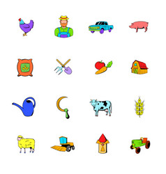 Agriculture icons set cartoon vector