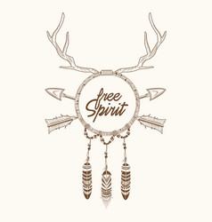 dream catcher horns arrow feathers magic vector image