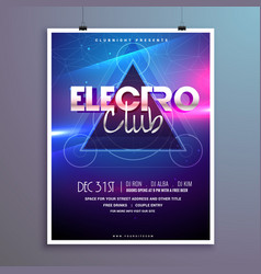 Club music party flyer invitation card with shiny vector