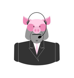 Farm call center pig with headset swine operator vector