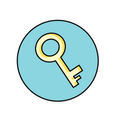 Key icon in flat vector