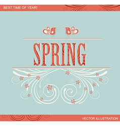 Spring word flowers and bird vector image