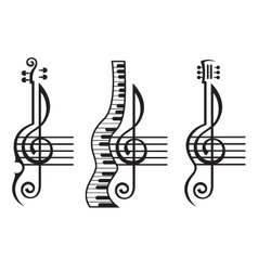 Violin guitar piano and treble clef vector