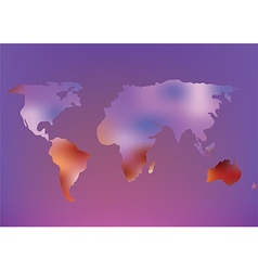 Futuristic world map with glow effect vector image