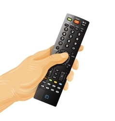 Tv remote control in hand isolated on white vector
