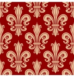 Beige and red fleur-de-lis seamless pattern vector