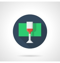 Glass with red wine round flat color icon vector