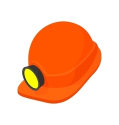 Helmet with a flashlight cartoon icon vector