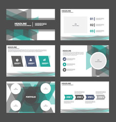Green black presentation templates infographic set vector