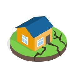 House after an earthquake icon isometric 3d style vector