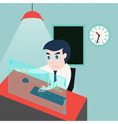 Businessman working late at night in the office vector