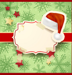 christmas with label and christmas hat vector image vector image
