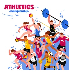 Colorful sport isometric poster vector